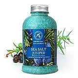 Badesalz Wacholder 600g - Meersalz mit 100% Natürlichem Wacholderöl - Zitronengrasöl - Zypressenöl - Besten für Gelenke und Muskel - Guten Schlaf - Baden - Körperpflege - Entspannung