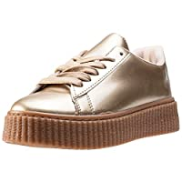 The Womens Creeper Metallic from CARDOUNO combines a Synthetic upper with a durable Rubber sole. These Trainers feature Lace-up fastening, cushioned insole and Synthetic lining. Finished with CARDOUNO branding, the style P38-21GOLD comes in a Gold co...
