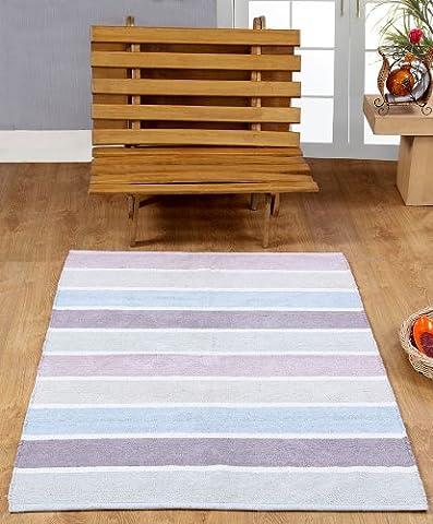 Homescapes waschbarer Chenille Streifen Teppich Vorleger 60 x 100 cm aus 100% reiner Baumwolle, Farbkombination: blau, beige, lila, grau und natur, pflegeleicht und