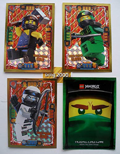Lego Ninjago Serie 4 - 3 Limitierte Gold Karten Trading Card LE 2 Mega Power Cole LE 3 Mega Power Lloyd LE 5 Mega Power Zane Gold-karte