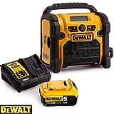 DeWALT DCR020 240V DAB FM Jobsite Digital Radio With 1 x 5Ah Battery & Charger
