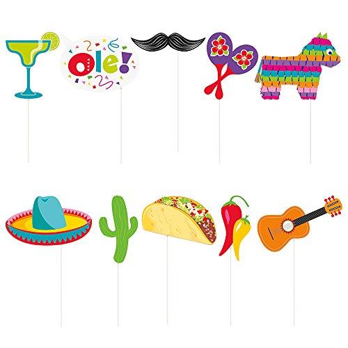Unique Party 58689Mexikanische Fiesta Foto Stand Requisiten, Set von 10