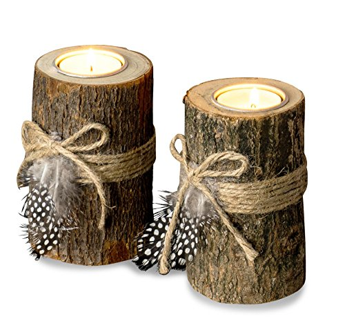 levandeo 2er Set Teelichthalter Holz je 12cm hoch Kerzenhalter Federn Kerzenständer Tischdeko