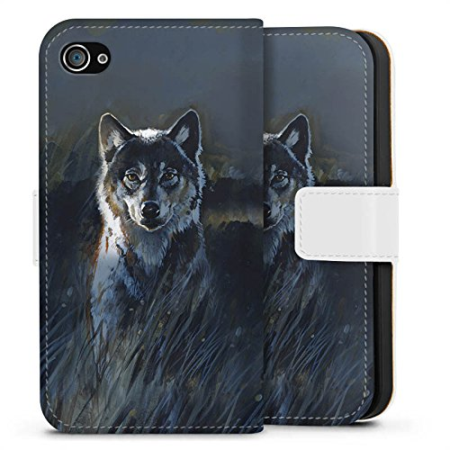 Apple iPhone X Silikon Hülle Case Schutzhülle Wolf Natur Dunkel Sideflip Tasche weiß