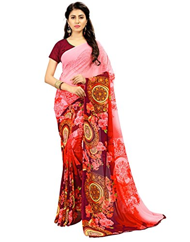 saree by saree mandir Women's Georgette printed Pink AND Maroon Color Saree...