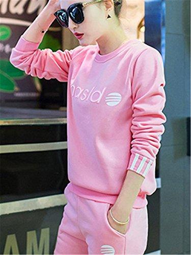 DaBag Ragazzi Donna Abbigliamento sportivo Felpe Spesso Maglioni Sportive Manica Lunga Girocollo Maglieria Tinta Unita Tasca Top Pantaloni Harlan Tw in Set Caldo Rosa