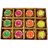 Aroma18 Diya For Decoration | Diya For Puja | Diya Holder Decorative | Diya Lamps For Pooja | Diwali Gifts And Decoration | Diwali Diya Earthen Clay Diyas Aroma Flora Wax Lamp Handmade Premium Set Home Decor Hindu Pooja - Reusable (Set Of 12, Handmade Mat