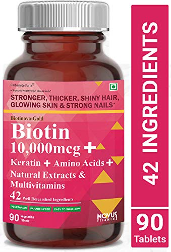 Carbamide Forte Biotin 10,000mcg with Keratin, Bamboo Extract, Amino Acids, Natural Extracts & Multivitamins for Women & Men | Total 42 Ingredients Supplement for Fast Hair Growth - 90 Veg Tablets
