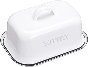 Kitchen Craft LNENBUTTER Living Nostalgia Vintage Butterdose, Emaille, mit Deckel, 18.7 x 13.5 x 10 cm, weiß, 2-teilig