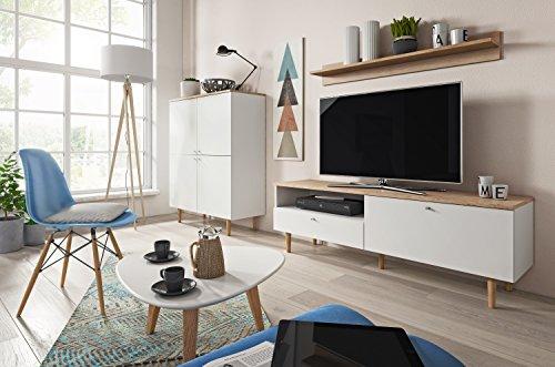 Mb Moebel Moderne Wohnwänd Wohnzimmer Möbel Schrankwand Sand Buche Weiß  PIKO 2