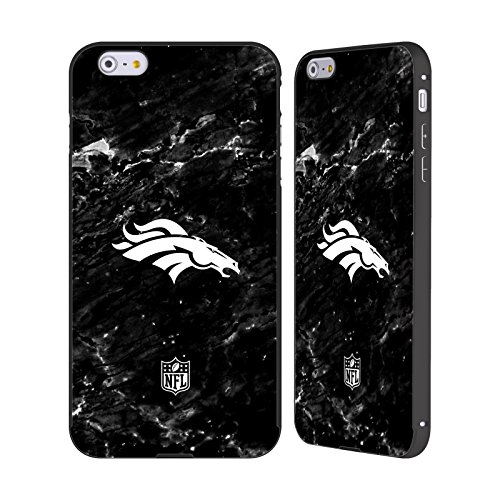 Ufficiale NFL Pattern 2017/18 Denver Broncos Nero Cover Contorno con Bumper in Alluminio per Apple iPhone 6 Plus / 6s Plus Marmo