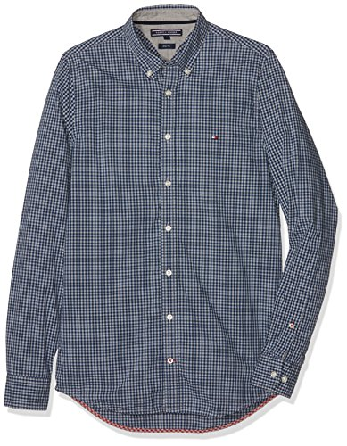 Tommy Hilfiger Herren Freizeithemd Mini Htr Gingham SF2, Blau (Estate Blue/Cloud Htr 902), Large (Tommy Hilfiger Button Down Hemd)