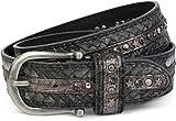 styleBREAKER Nietengürtel in cooler Flecht-Optik, mit Kugel-, Stern- und Strass Nieten besetzt, Gürtel, kürzbar, Damen 03010075, Farbe:Dunkelgrau;Größe:100cm