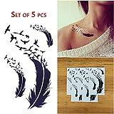 COKOHAPPY 5 Foglio Piuma Uccello Piccolo Temporanei Temporaneo Tatuaggi Tattoo Per Donna immagine