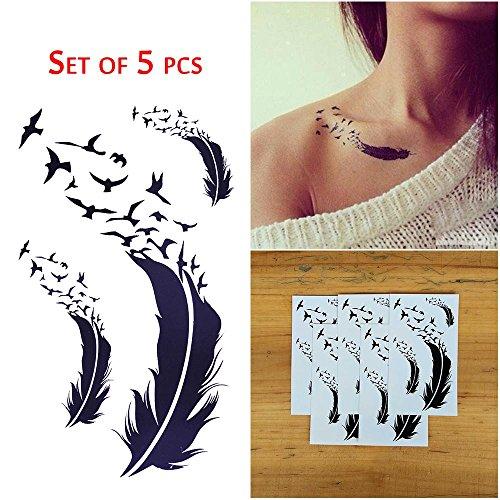cokohappy-5-foglio-piuma-uccello-piccolo-temporanei-temporaneo-tatuaggi-tattoo-per-donna
