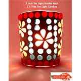 Ethnic Handmade Glass Votive Tea Light Candle Holder 3 Inches - Colorful Centrepiece For Table Tea Light Holders - Home Decor Diwali Decoration & Gift Item - 1 Piece Tea Light Holder With 2 Tea Light Candles In Each Pack