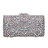 Bonjanvye Crystal Rhinestone Evening Bags for Womens Handbags for Weddings AB Silver