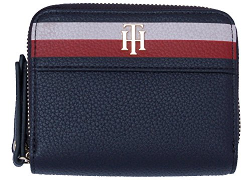 Tommy Hilfiger Damen Cool Hardware Dbl Zip M Wlt Corp Geldbörse, Schwarz (Corporate), 5x13x10 cm (Zip Wallet Medium)