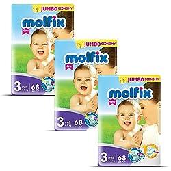Molfix Midi/Jumbo Economie Pack de 204 Couches 4-9 kg 1 Mois Taille 3