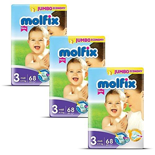 Molfix Midi/Jumbo Economie Pack de 204 Couches 4-9 kg 1 Mois Taille...