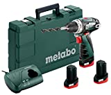 Metabo 600080960 Akku Bohrschrauber PowerMaxx BS Basic Set 10.8 V, Schwarz, Grün