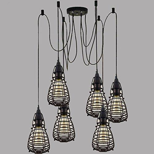 HWAMART ® HL426 sechs Kopf schwarze Spinne Kronleuchter Lampe mit Eisenkäfig Retro Anhänger Edison E27 kreative DIY Decke