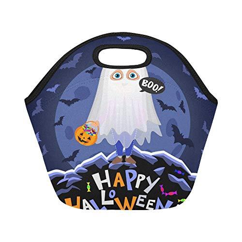 Isolierte Neopren-Lunch-Tasche Happy Halloween Boy Halloween-Kostüm auf großen wiederverwendbaren thermischen dicken Lunch-Tragetaschen für Brotdosen für den Außenbereich, Arbeit, Büro, Schule