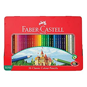 Faber-Castell Classic Colored Pencils Tin Set, 48 Vibrant Colors In Sturdy Metal Case - Premium Children