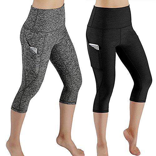 Yoga Mujer Deportivas Pantalones,Alto Elásticas de Cintura Empalmado de Leggins Polainas Pilates De Estilo Gimnasio Trouser Hippy Athletic Pantalones de de Bolsillo Sólido Pantalones Recortados