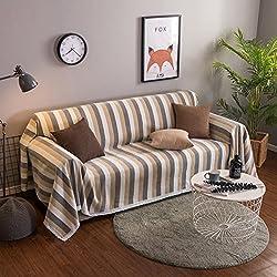 YQ WHJB Tela Funda de sofá,Raya 1 Pieza Simple Moderno Fundas de sofá a Prueba de Polvo Protector de los Muebles para 1 2 3 4 Cojines sofá Sala de Estar Toalla de sofá-Beige 180x380cm(71x150inch)