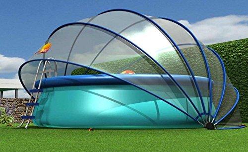 SunnyTent Rund Größe L, komplett, transparent, 540 x 540 x 270 cm. Ein Zelt für mehrere Zwecke, geeignet für Schwimmbäder, Eingegrabene Trampoline, Sandkästen, Gemüsegärten, Koi Karpfen, Jacuzzi,ESTL