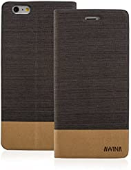 Good Quality Apple iphone 5s Case cover, Apple iPhone 5s Dark Brown Twin Colour Fabric Style Wallet Case Cover