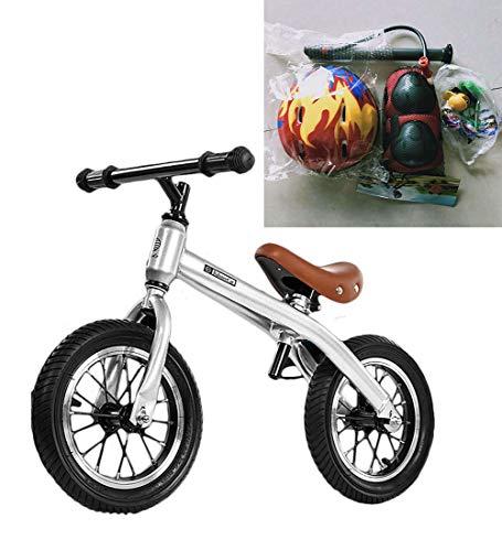 SXMXO Kinderfahrräder Kids Balance Bike für Alter 2-6 Jahre, Laufräder für Kinder Kein Pedal, 12-Zoll Prime-Qualität Kohlenstoffstahl Fahrradrahmen,Silver