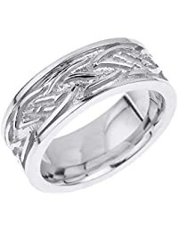 Little Treasures - 10 ct Solid White Gold Celtic Knot Unisex Wedding Band