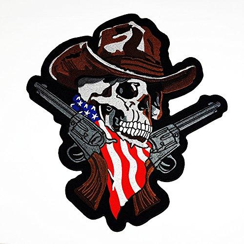 n Kreuz Totenkopf Skelett USA US Flagge Motorrad MC Hog Biker Patch Sew Iron on gesticktes Badge Schild Kostüm (Hog Kostüme)
