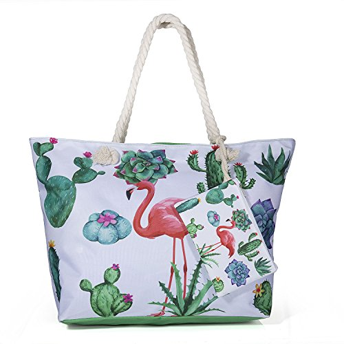 ZeWoo Bolsa de Playa, Bolsa de Playa de Lona Mujer Grande Bolso de Mano Shopper Bolsa Bolsa De Verano (verde)