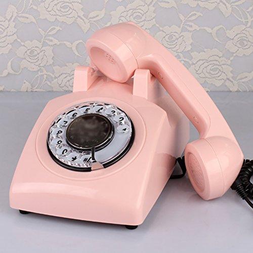 Teléfono fijo, teléfono fijo, teléfono fijo, teléfono retro, teléfono fijo rotativo, multicolor, opcional (Color : Pink)