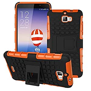Heartly Flip Kick Stand Spider Hard Dual Rugged Armor Hybrid Bumper Back Case Cover For Micromax Canvas Nitro A310 A311 Dual Sim - Mobile Orange