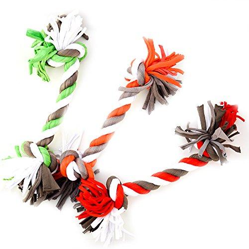 2 Stück Kauseil mit zwei Knoten, Hundespielzeug Länge ca. 32cm (2 x 160g) (2 Knoten Seil)
