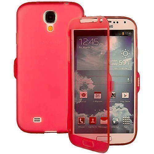TPU trasparente per Samsung Galaxy Note 2 N7100 Display Touch Smart Cover a rosa rosso