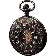 KS Reloj de Bolsillo con Cadena Hombres Vintage Steampunk Esqueleto Mecánico con Caja de Regalo KSP004