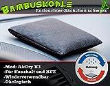 GYD Airdry X3 Alpha Auto-Entfeuchter Schwarz mit natürlicher Bambus-Aktivkohle, das Original, wiederverwendbar Bambus-Luftreiniger für Auto, Küche, Schrank, Wohn-Zimmer, WC, Tasche u.v.m.