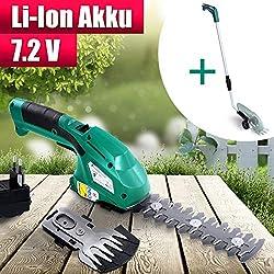 Akku Gras- und Strauchscheren Elektrisch Set mit Teleskopstiel | 7.2V Akku (45 min Laufzeit) und Ladegerät | Grasschere, Rasenschere, Heckenschere