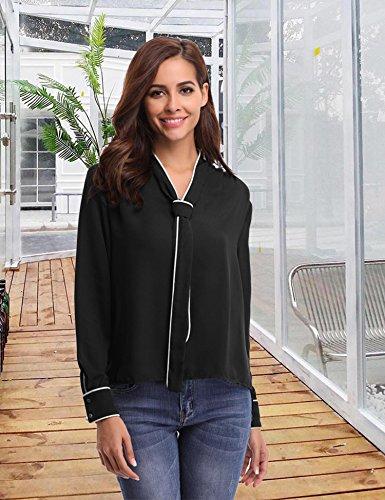 Abollria Damen Bluse Elegant Business Chiffon Blusen Langarm Tunika Blouse V Ausschnitt Kragen mit Schleife Schwarz-1