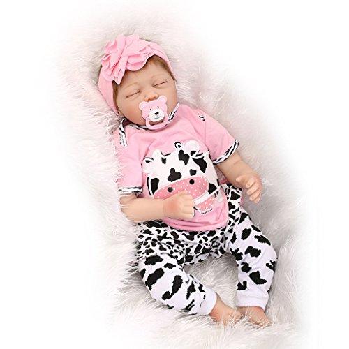 ZELY 22 Zoll Reborn Baby Puppe Weich Silikon Vinyl 55cm Real Billig Kinder Magnetischer Spielzeug schlafend Mädchen Dolls