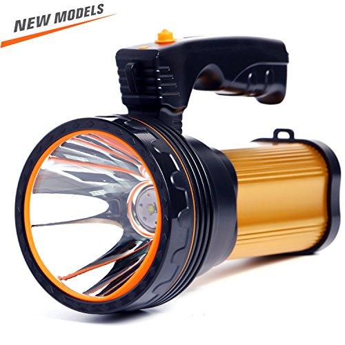 ROMER LED Wiederaufladbare Handheld Scheinwerfer Hochleistungs Super Bright 9000 MA 6000 LUMENS CREE Taktische Scheinwerfer Fackel Laterne Taschenlampe (GOLD) (Wiederaufladbare Scheinwerfer Taschenlampe)