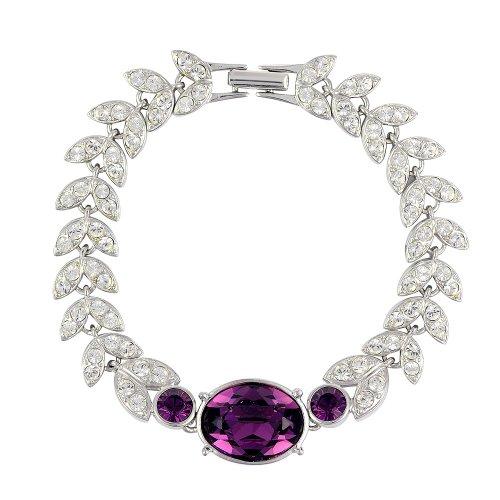 Cristalina Ohrstecker rhodiniert Amethyst Girlande Armband Swarovski-Kristalle 19,5 (Epoque Belle Kostüme)