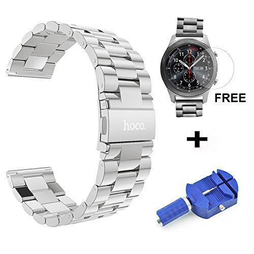 hoco. 22mm Armband für Samsung Gear S3 Frontier/Classic, Premium Edelstahl Metall Ersatz Uhrenarmband mit Tempered Glass Screen Protector + Pin Link Remover Tool(Silber) (Schnalle Einfügen)