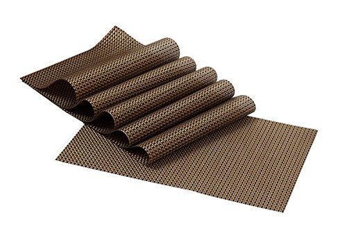 Kuber Industries™ 6 Piece Dining Table Placemats in Weaving Style (Brown Black) - KI3445