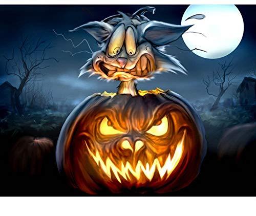 ZSCY DIY Diamant Malerei Halloween Cat Dekoration Platz Bohren Voll Bild Von Strass Diamant Stickerei Tiere 40X55 cm Rahmenlose